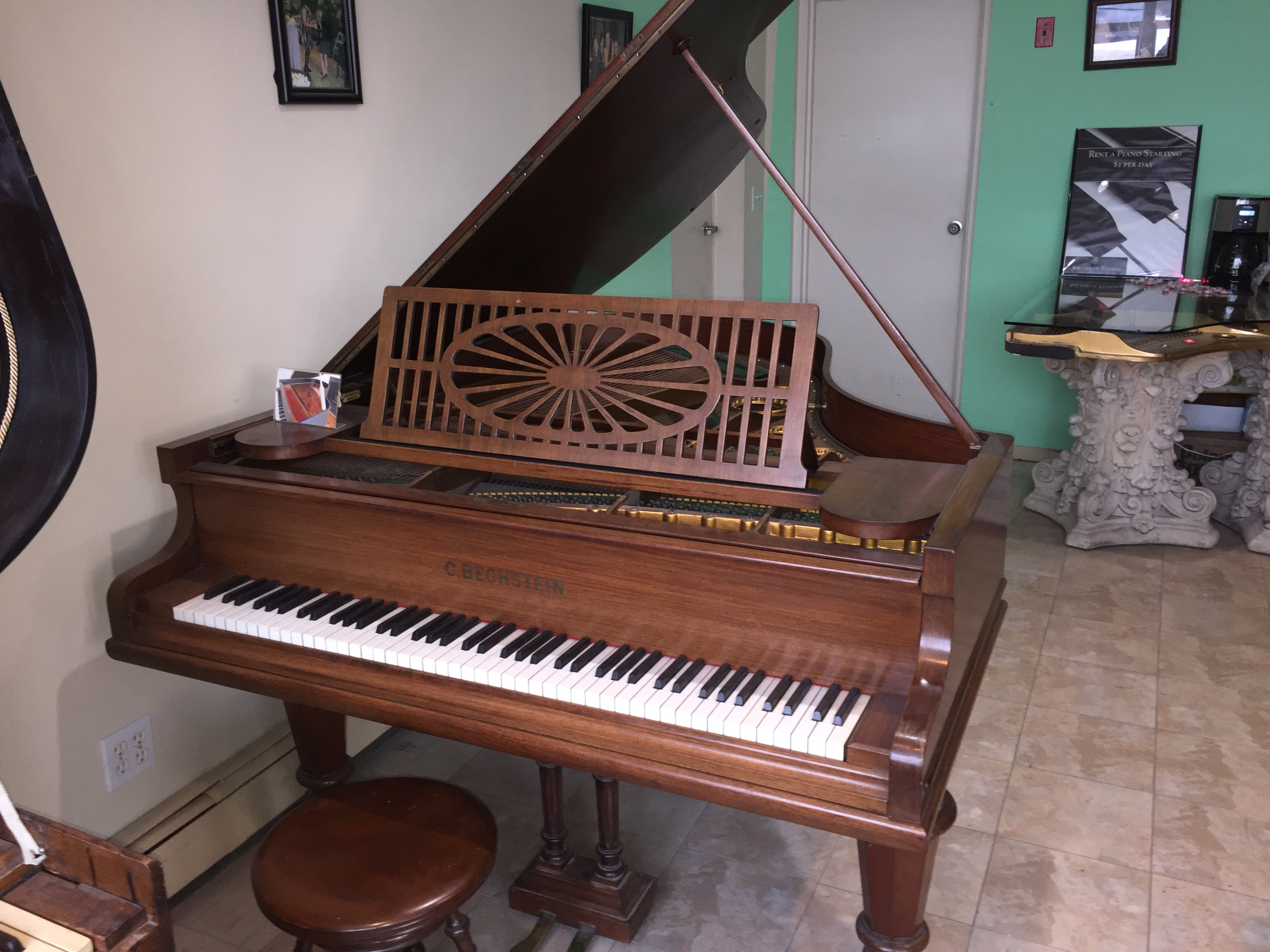 Antique bechstein cherry wood grand piano y1919 pianos for Royal pianos